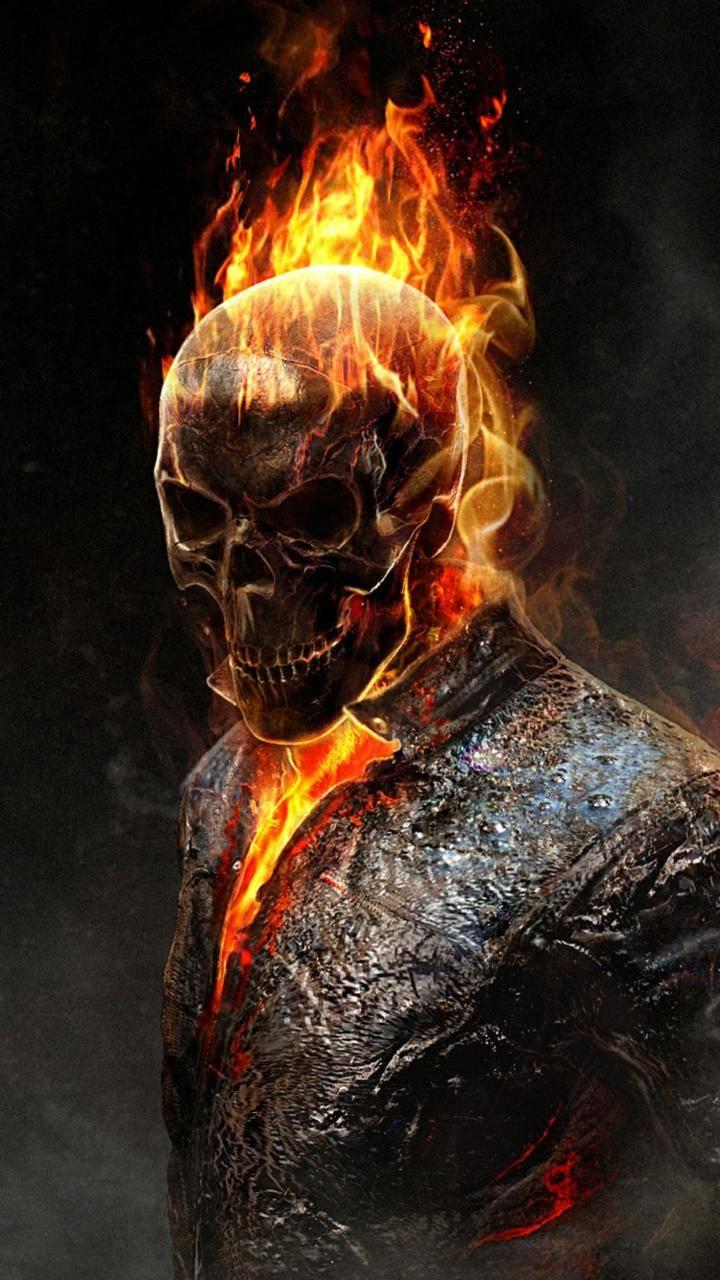 skull fire man
