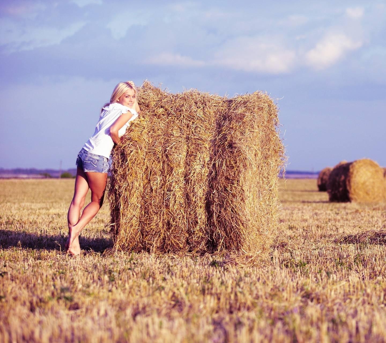 Girl At Hay Rolls