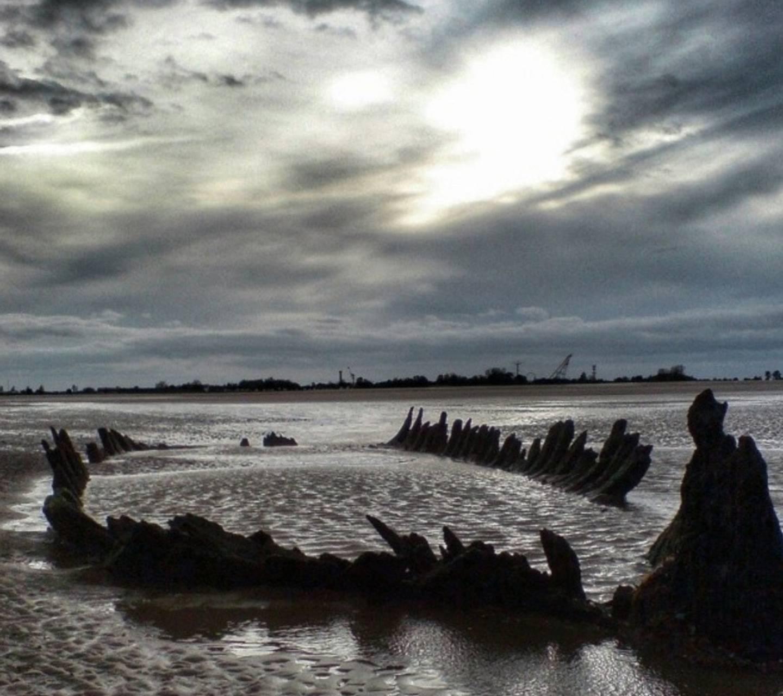 Emerging shipwreck