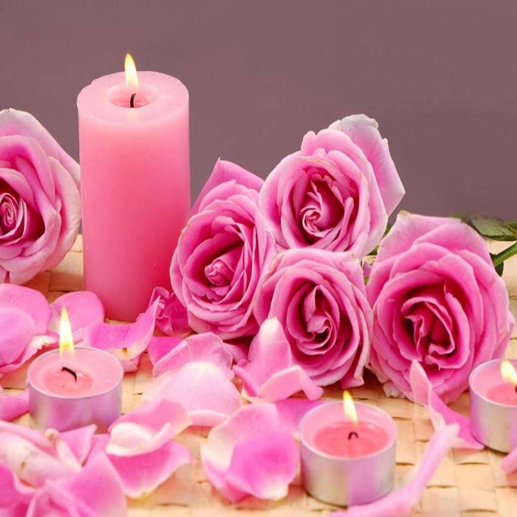 Iphone 4 Wallpaper: Candle Pink Roses Wallpaper By _LuCkyman_