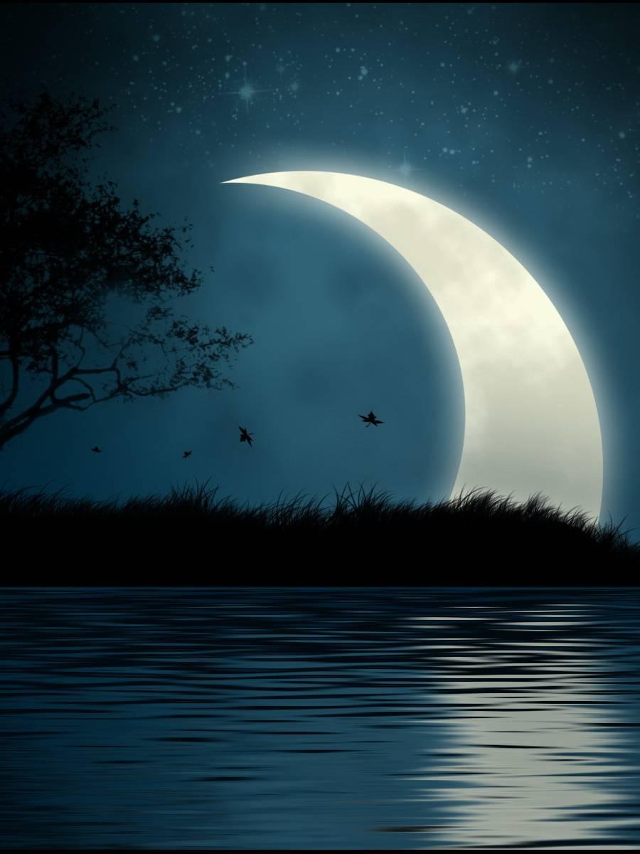 Гифка луны и звезд