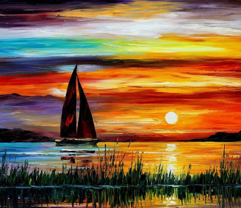 Painting Boat Sea