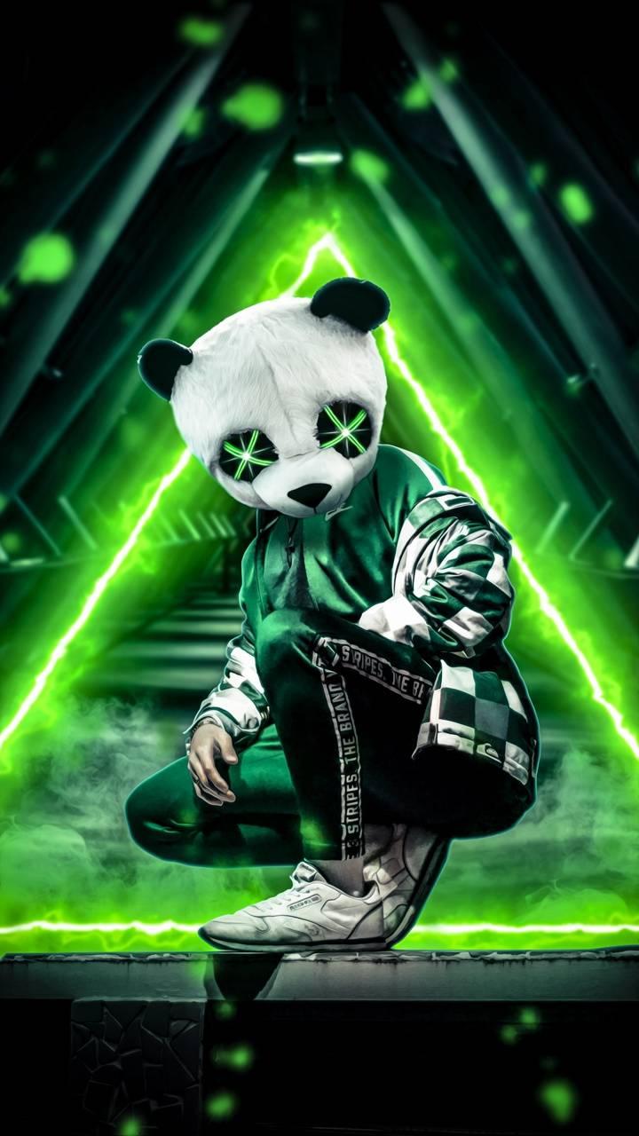 panda neon green wallpaper by amazingwalls - 6d