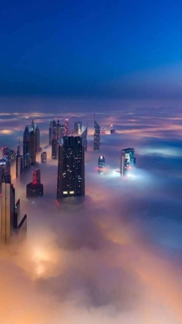 city and fog