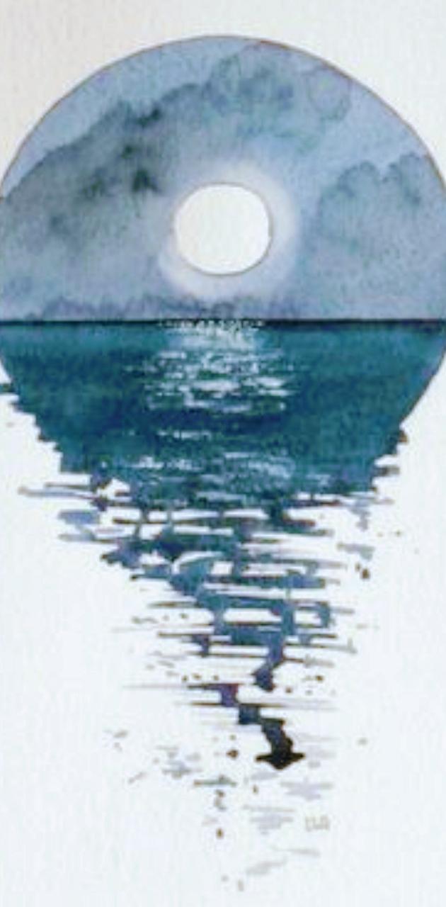 Watercolor sea moon