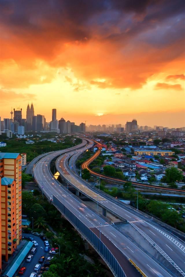 city at dusk