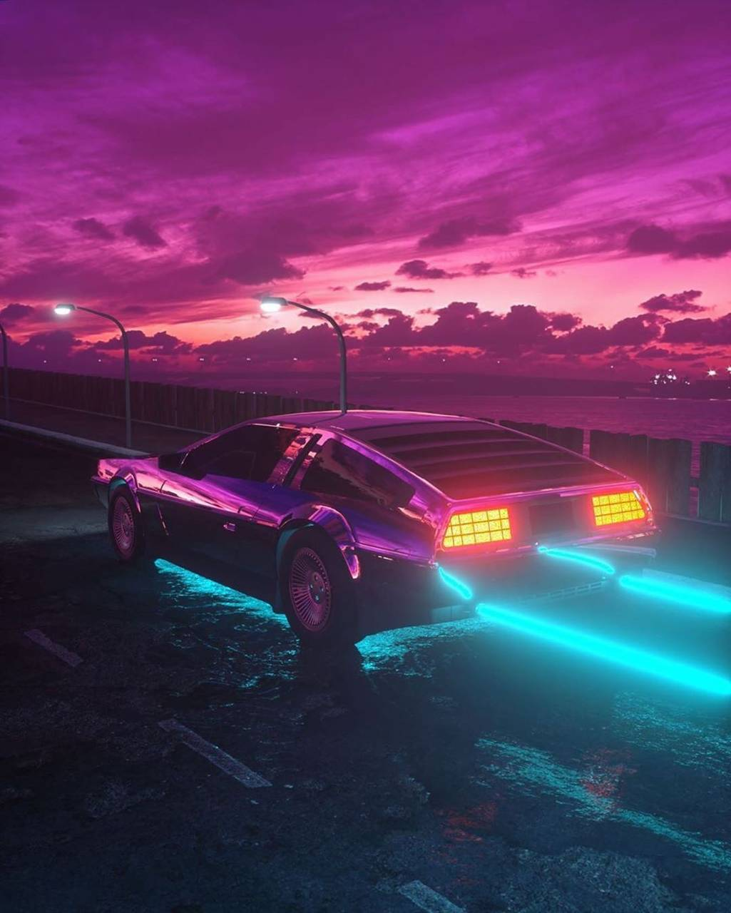 Neon Delorean