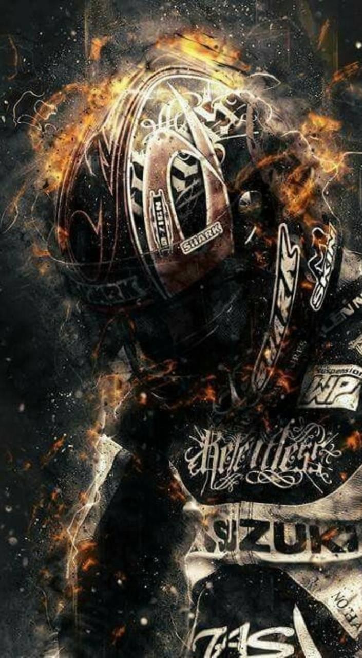 Biker on fire