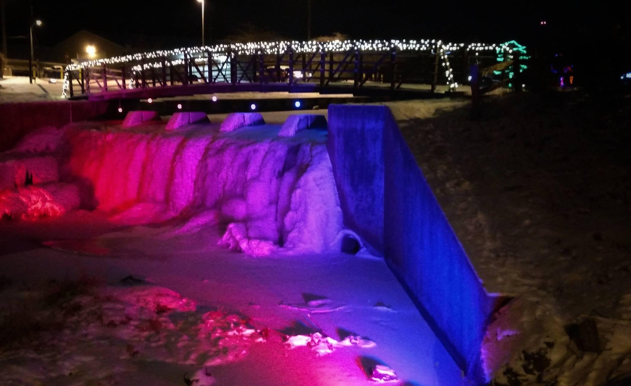 Colorful frozen pond