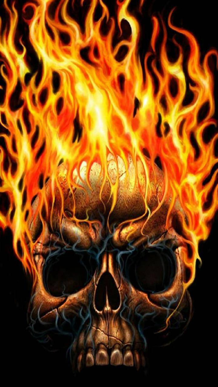 fire art skull