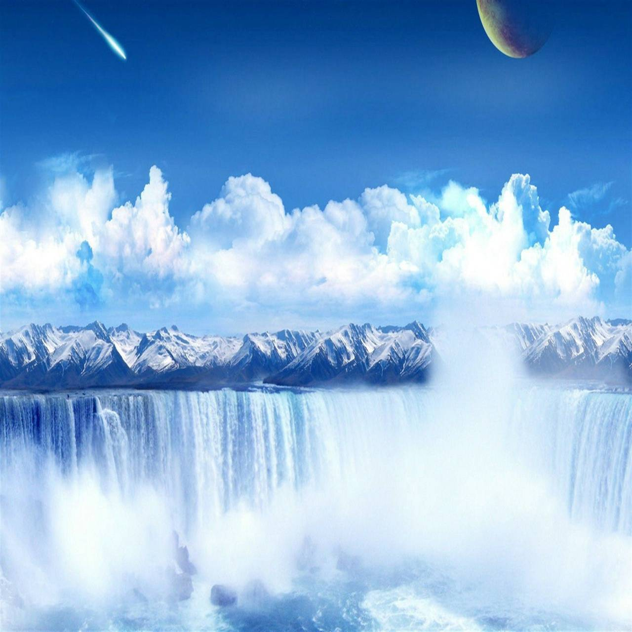 Waterfall And Planet