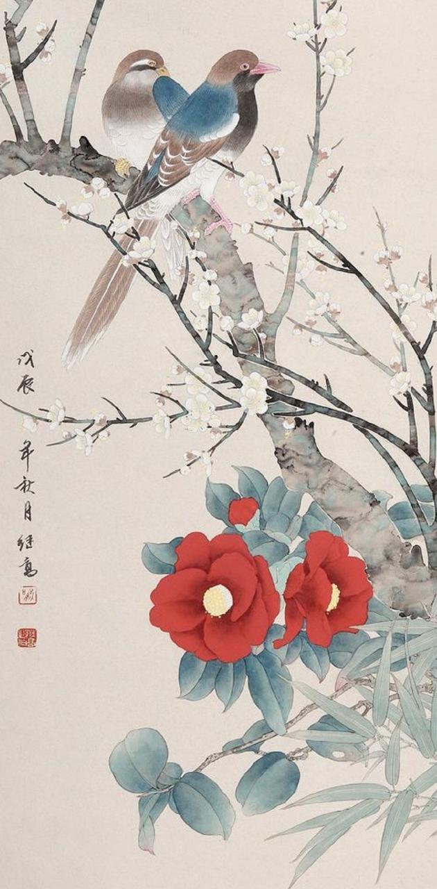 2 birds  2 flowers