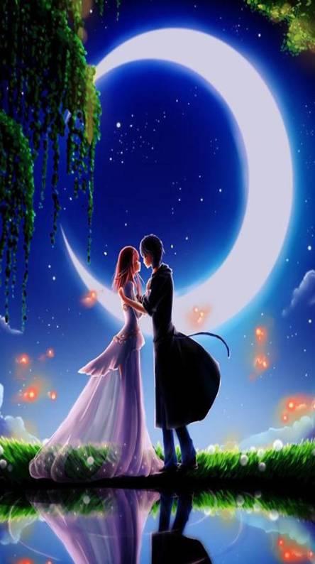 Night couple kiss