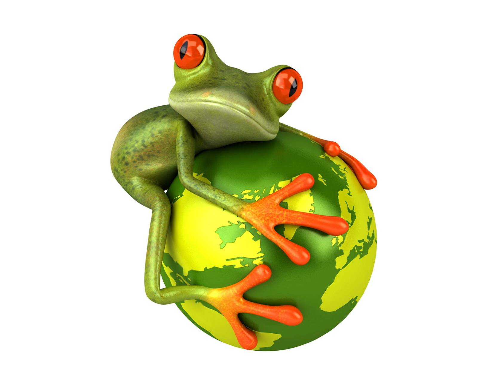 Funny Frog On Globe