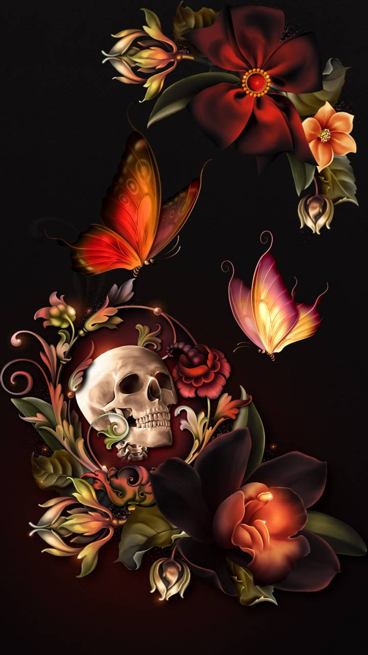 Floral Skull Wallpaper By Sixty Days 85 Free On Zedge