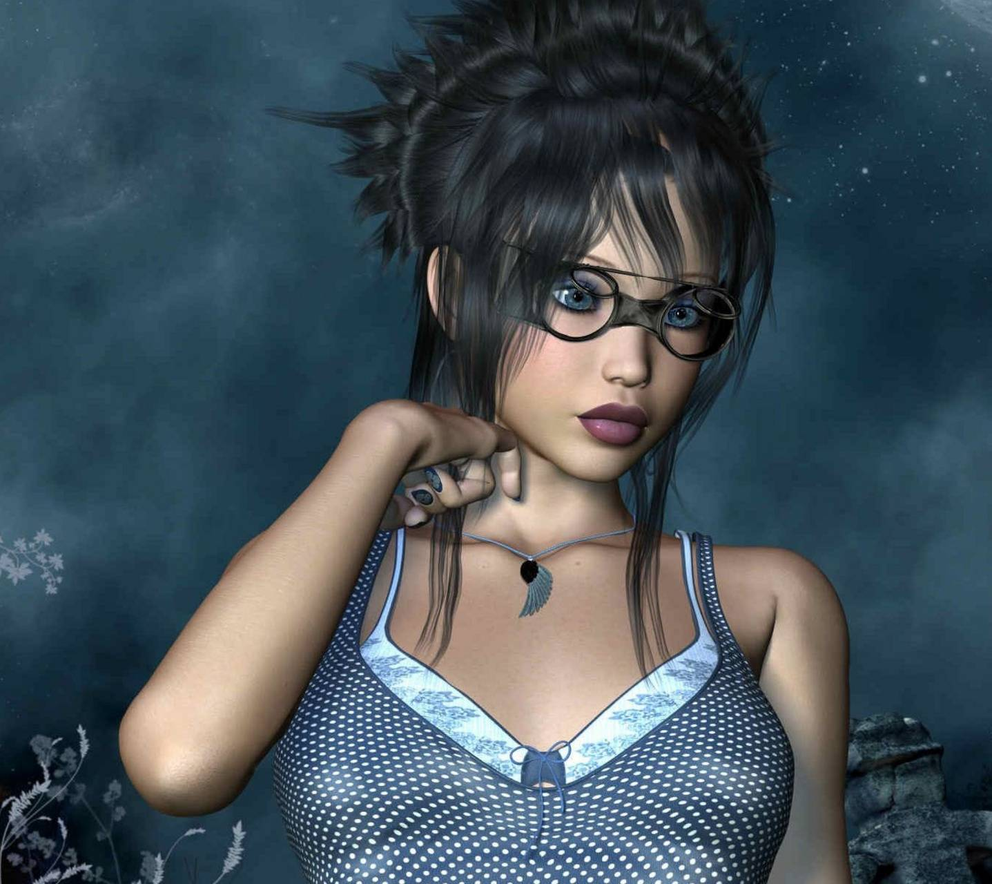 Girl glasses 3d