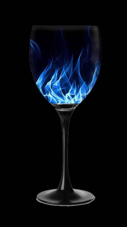 blue fire in a glass