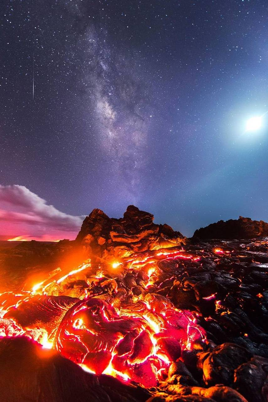 Lava and milky way