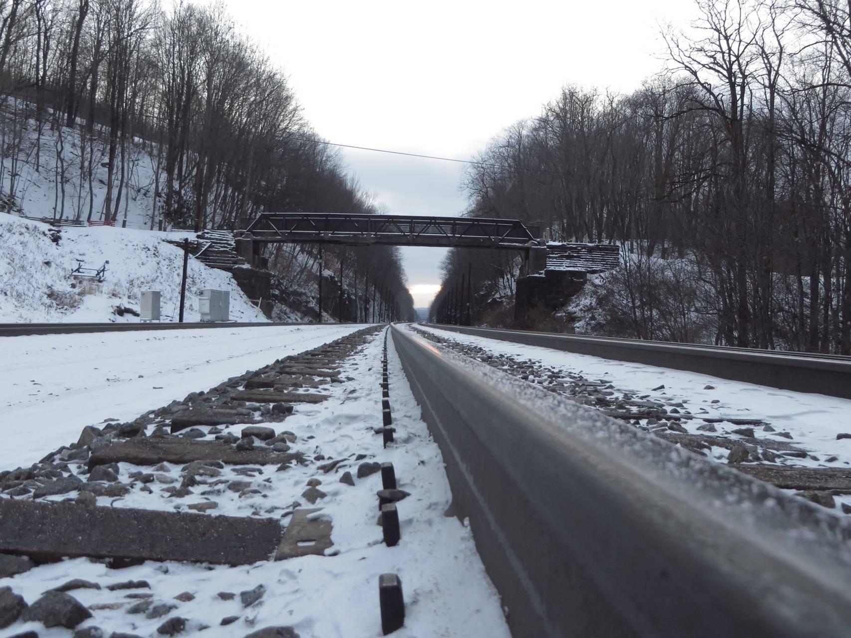 Snowy railroad track