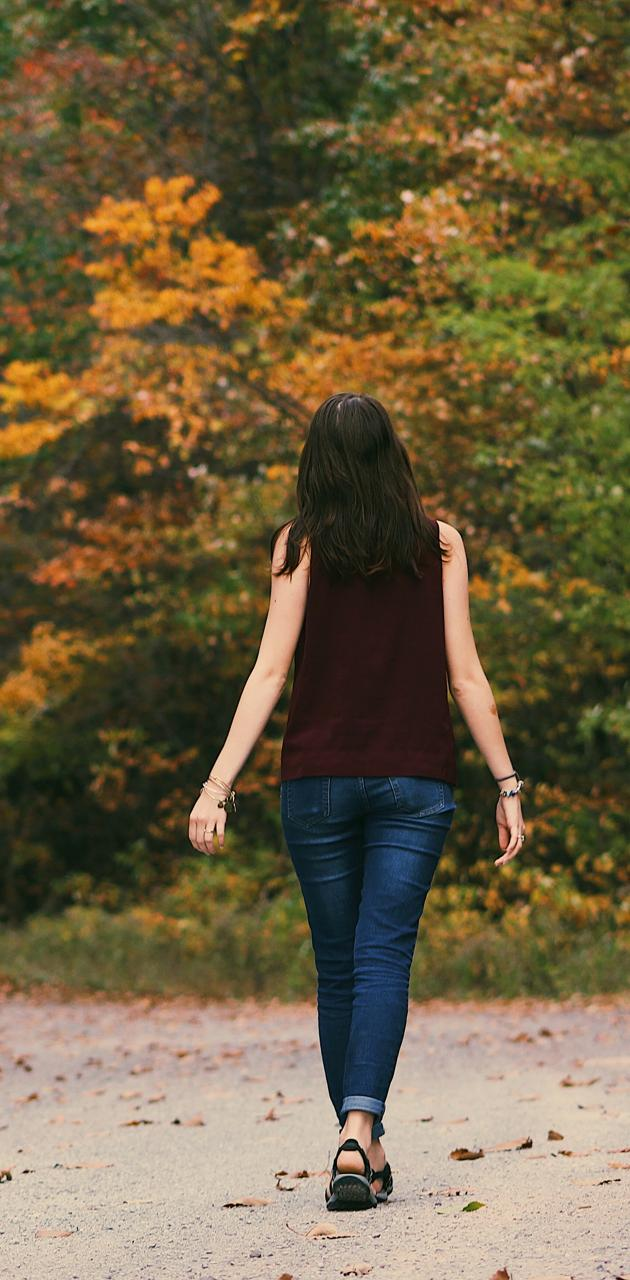 Girl in forest road