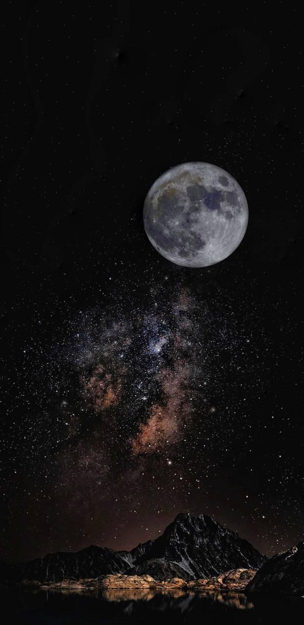Galaxy and moon