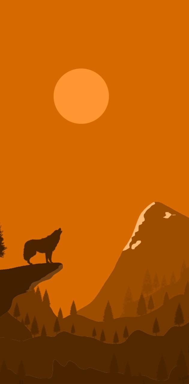 Sunset moon wolf