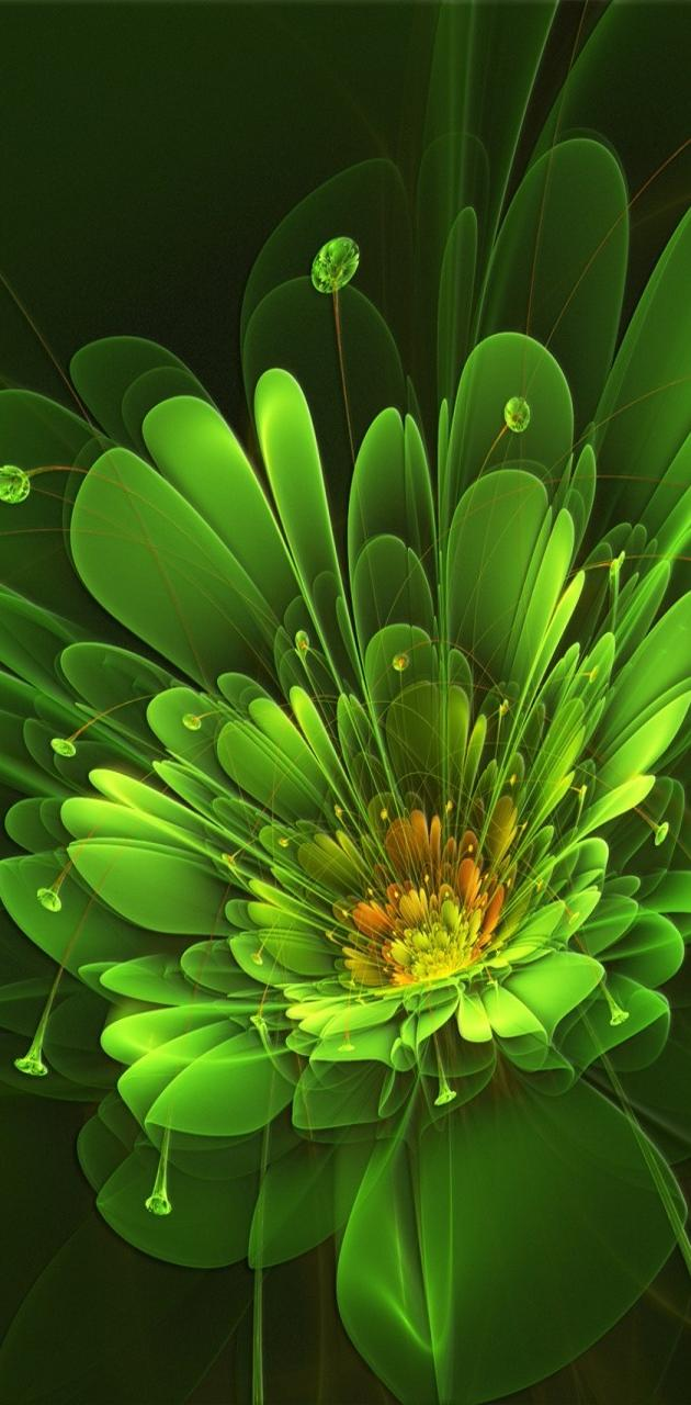 Green Abstract Flowe