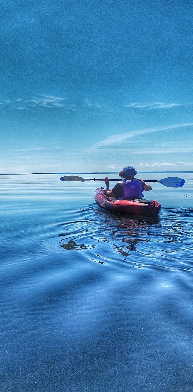 Blue kayaking