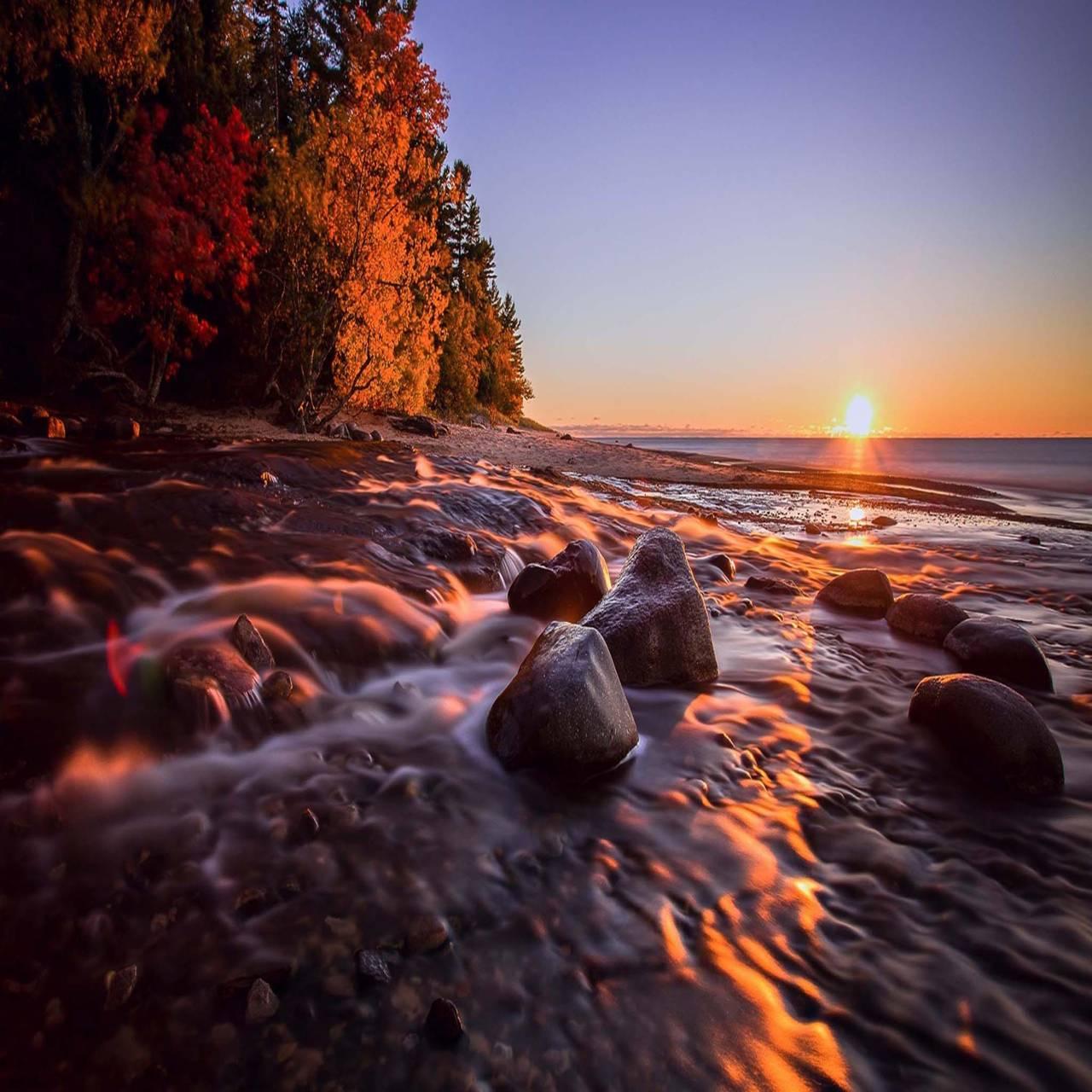 Sunset sea coast