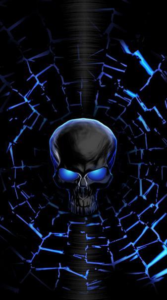 Neon Blue Skull