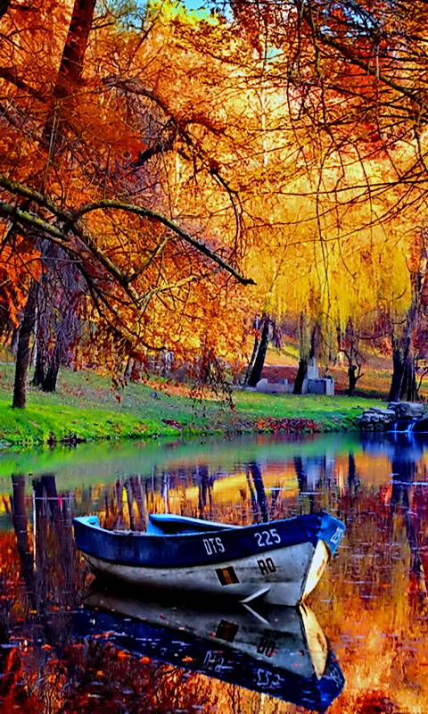 Boat In Autumn River