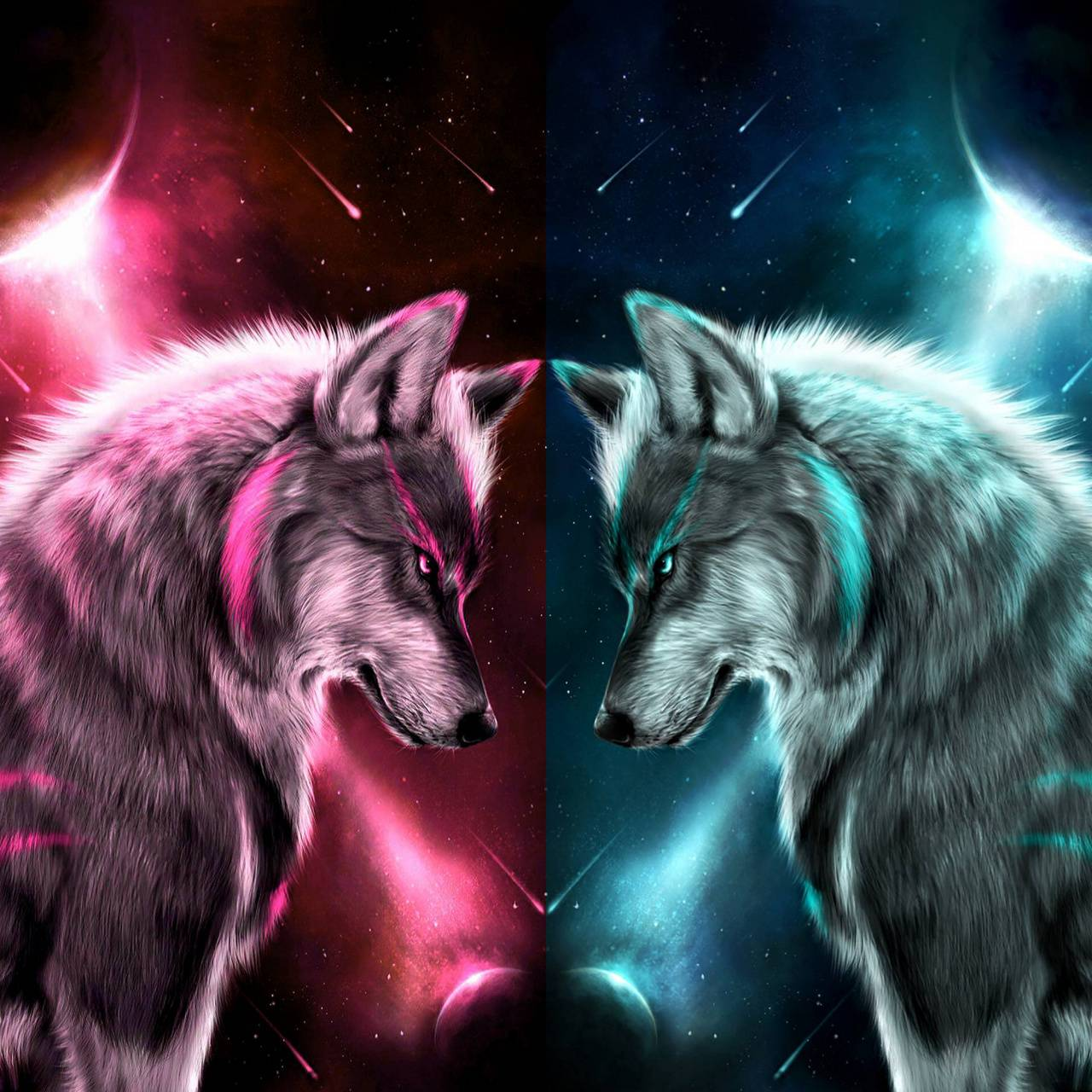 Wolf face off