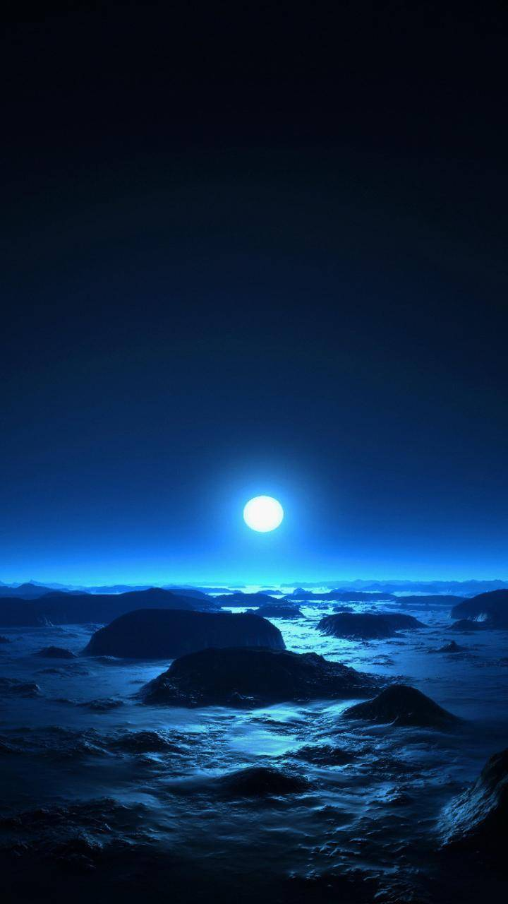 sea moon night